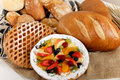 Type of bread, fruits pie. Stock Photo
