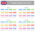Type english calendar sun sat on white background Royalty Free Stock Photos
