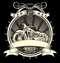 Type Filled Vintage Motorcycle Vector Illustration, EPS manual artrwork hand draw