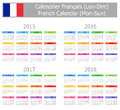 Type french calendar mon sun on white background Stock Images
