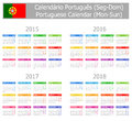 Type portuguese calendar mon sun on white background Royalty Free Stock Photography
