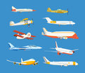 Types of airplane: passenger, civil, airbus, military, biplane, airplane high-rise. Royalty Free Stock Photo