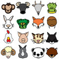 Types of animals cute cartoon animal head icons Stock Photos