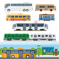 Types of buses, minibuses, railroad trains, trolleybuses, trackless tram vector