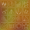 Types of charts chalky doodles illustration doodle icons Stock Photos