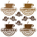 Types of coffee stamps set vintage with different vector illustration Royalty Free Stock Image