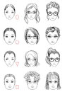 Types of face shape forms womens head correct and wrong hairstyle and glasses for type illustration Stock Image