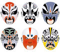 Types of facial make-up in Beijing opera set five Royalty Free Stock Images