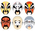 Types of facial make-up in Beijing opera set six Stock Photo