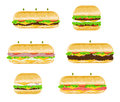 Types and flavours of sandwiches illustrations different with lettuce meat ham cheese tomatoes onions Stock Photo
