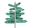 Types of Investments Direction Sign Royalty Free Stock Photo
