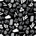Types of pasta food black and gray pattern eps10 Royalty Free Stock Photo