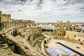 Types of roman amphitheatre in the city of el jem in tunisia amid dramatic sky Stock Image