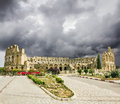 Types of roman amphitheatre in the city of el jem in tunisia amid dramatic sky Royalty Free Stock Images