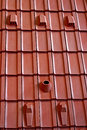 Types of roof tiles with various ventilation and fastening elements Royalty Free Stock Images