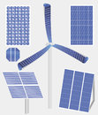 Types of solar panels vector illustration different including the new one – wind mill with panel Royalty Free Stock Photography