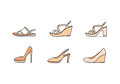 Types of woman shoes Royalty Free Stock Photo