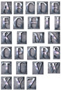 Typescript alphabet upper case d rendering of an in metallic print letter cases Royalty Free Stock Image