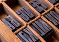 Typesetter drawer alphabet metal letterpress from a to z in an old s Stock Photo