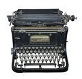 The typewriter of the beginning of centuries is isolated on white Royalty Free Stock Images