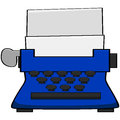 Typewriter cartoon illustration of an old blue Royalty Free Stock Photos