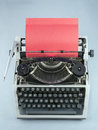 Typewriter close up of an old and red paper Royalty Free Stock Photo