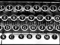 Typewriter keys black and white close up image of vintage Royalty Free Stock Photos