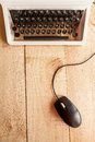 The typewriter and mouse Royalty Free Stock Photo