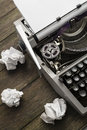 Typewriter old vintage on a wooden table Royalty Free Stock Photo