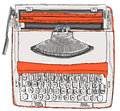 Typewriter two tone cream orange