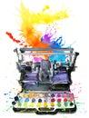 Typewriter. Typewriter illustration. Color printer illustration.