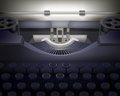 Typewriter vector illustration with vintage paper behind it Stock Photo