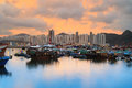 Typhoon Shelter twlight at skw Royalty Free Stock Photo