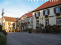 Typical alsatian village at morning during spring Royalty Free Stock Images