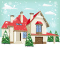 Typical American home in winter Royalty Free Stock Photo