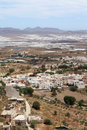 Typical andalusian village in the south of spain bird s eye view nijar a whitewashed province almeria with greenhouses Royalty Free Stock Photos
