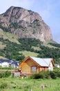 Typical andes home in el chalten argentina it is located the riverside of rio de las vueltas within the los Stock Image