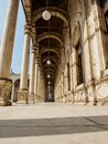 A typical arabic colonnade, portico or peristyle of a mosque in cairo II Royalty Free Stock Photo