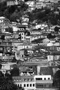 Typical architecture in the hills of Valparaiso, white and black Royalty Free Stock Photo