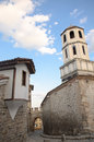 Typical architecture, historical Medieval houses, Old city street view with colorful buildings in Plovdiv, Bulgaria. Royalty Free Stock Photo