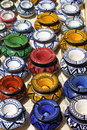 Typical ashtrays of morocco colorful traditional in marrakesh Stock Images