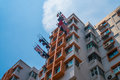 Typical Asian highrise public housing estate against blue sky Royalty Free Stock Photo