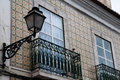 Typical balcony with lantern in Portugal, Lisbon Royalty Free Stock Photo