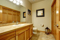 Typical bathroom in mountain American home. Royalty Free Stock Photo