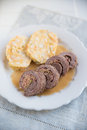 Typical Bavarian beef roll with dumplings Royalty Free Stock Photo