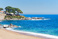 Typical beach in the costa brava catalonia spain Stock Images