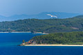 Typical beachscape at Aegean sea, Tristenika beach, Sithonia Royalty Free Stock Photo