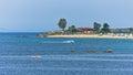 Typical beachscape at Aegean sea, Tristenika beach Royalty Free Stock Photo