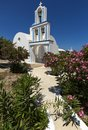 A typical blue domed church situated at Exo Gonia on the Greek island of Santorini