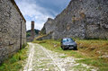 Typical car on old courtyard in albania berat Royalty Free Stock Photos